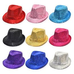 $enCountryForm.capitalKeyWord NZ - Fedora Trilby Sequin Unisex Fancy Dress Dance Party Hat Unisex Hip-Hop Jazz Hat 30pcs