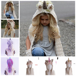 Unicorn Hooded Scarf Earflap Berretto a maglia Cute Unicorn Baby Kid Ragazze Unicorn Horn Caped Capes Nappe Sciarpa cappello KKA6121