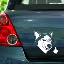 anime car decal stickers 2018 - 13.7*14.2CM Huskies Dog Despise Animals Stickers Car Styling Anime Motorcycle Car Stickers And Decals Exterior Accessori