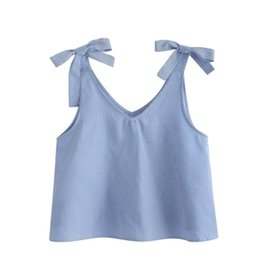 ba1410f8a6ebb Women Blue Pinstripe Summer Blouse V Neck Two Bows Tie Sleeveless Crop Top  Sweet Girls Tank Top 2018  10