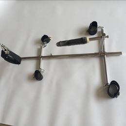 Унисекс из нержавеющей стали бондаж рама собака рабы БДСМ устройства устанавливает наручники кандалы лодыжки манжеты шеи воротник фаллоимитатор секс мебель игрушки