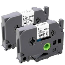 Toptan satış 2 Adet Etiket Bant Brother TZ TZe 221 ile Uyumlu TZe-221 P-touch Etiket Makinesi, Standart Lamine, 3/8 Inç X 26.2 Ayaklar, Beyaz