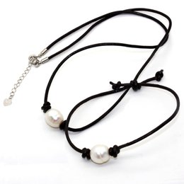 Bracelet sliders online shopping - Freshwater Pearl Jewelry Set Fashion white pearl leather cord necklace and bracelet given to the mother s surprise gift