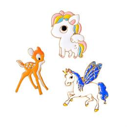 0298c9ca3c4f0 Wholesale- 1 pcs Pony Horse Unicorn Sika Deer Brooch For Women Men Child  Cartoon Forest series Pin Jacket Collar Badge Animal Jewelry Gift