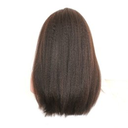 Kinky Straight Hair For UK - Natural Color Kinky Straight Wig For Black White Woman Remy Vrigin Wigs Brazilian 150% Density Human Hair Front Lace Swiss Lace Free Ship