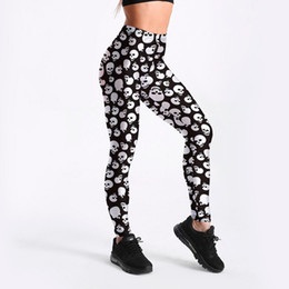 771a076f1 Plus Size Plaid Leggings UK - 2018 Summer 3428 Funny Skull Black and white  Printed Sexy