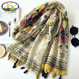 Cotton Viscose Scarves Australia - 2017 Autumn Fashion Scarves with Tassels New Flower Cotton Women Winter Wrapped Scarf Warm Viscose Voile Shawls s XY-79
