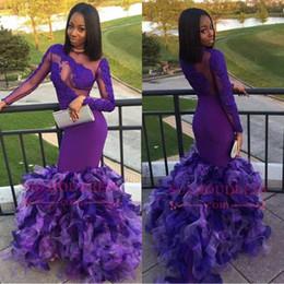 Sheer Black Dress Canada - 2018 African Black Girls Organza Mermaid Long Sleeves Prom Dresses Sheer Neck Cascading Layers Ruffle Evening Gowns BA7896