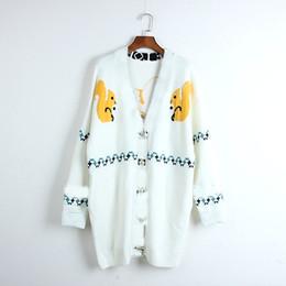 $enCountryForm.capitalKeyWord NZ - Autumn Woman Embroidery Sweater Cardigan V-neck Full Sleeve Cartoon Pattern Pockets Coat Female White Knitting Clothing
