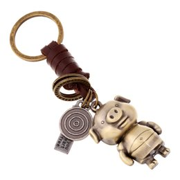 Geflochtene Lederschnurauto-Schlüsselanhänger männliche und weibliche Liebhaberschlüsselringlegierungs-Karikaturtier kreativer lederner Anhänger W359