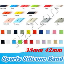 Großhandel Neue 28 Farben Silikon Sport Bands Ersatz für Apple Watch Band Handschlaufe mit Adapter Zubehör 38mm 40mm 42mm 44mm Watchstrap