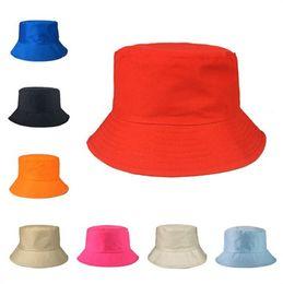 0e89d39c257e01 fashion Travel Fisherman hats Leisure Bucket Hat Solid Color Men Women Flat  Top Wide Brim Cap For Outdoor Sports Visor caps 2018