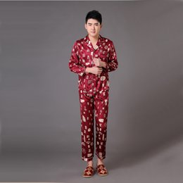 e5b5998761 Brand Burgundy Long Sleeve Male Silk Sleepwear Chinese National Men s  Pajamas Set Pyjamas Suit Size S M L XL XXL XXXL MP009
