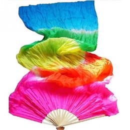 Woman Fans Canada - Handwork Colorful Belly Dance Women Costume Bamboo Long Silk Fans Veil Silk Fan public dancing Long silk fan Performing props