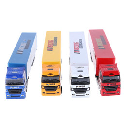 Toy Trucks Trailers UK - 1Pcs Mini Alloy Diecasts Truck Model Toy Vehicles Simulated Container Trailer Truck Educational Toy for Boys Gifts Random Color
