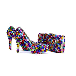 e0f87da04163 2017 Mix Color Blue Green Yellow Purple Wedding Party Shoes with Clutch 4  Inches High Heel Graduation Prom Pumps Matching Bag