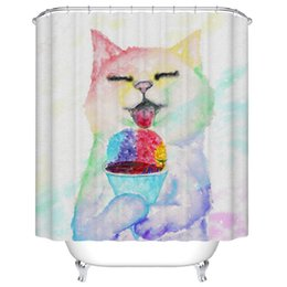 $enCountryForm.capitalKeyWord Canada - Shower Curtain Funny Cat Printed Waterproof Polyester Bath Curtain 180x180cm Bathroom Accessories Curtains Home Decoration