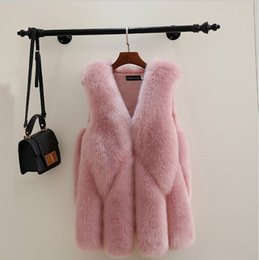 ElEgant whitE wintEr coat fashion online shopping - Elegant Faux Fox Fur Vest Pink Jacket Coat Vest Waistcoat Outwear Casual Fashion Sleeveless Fur Womens Winter Clothing