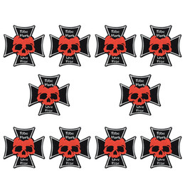 skull patches wholesale UK - 10 PCS Cool Skull Patches Badge for Punk Men Sweater Ironing on Transfer Embroidery Patch for Clothes Sewing Accessories for Trousers Jacket