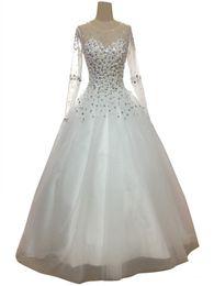 $enCountryForm.capitalKeyWord UK - Luxury Ball Gown Bride Dress 2018 Great Design O Neck Long Sleeve Crystals Tulle Wedding Dresses Custom Made