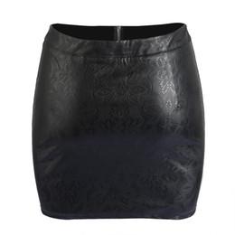 b0d139d56 Skirts Zipper Front UK - Sexy Women PU Leather Skirt Short Pencil Skirts  Black Embroidery Zipper