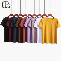 398a89c45 Summer Women Casual Cotton Plus Size 9 Colors Simple T-shirt Female O-Neck  Short Sleeve Tshirt 2018 Fashion Loose Tops For Lady