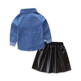 Cute Baby Girls Clothes 2018 Summer Fashion Toddler Kids Denim Tops + Falda  de cuero negro 2pcs trajes niños niña conjunto 5d3bd358d