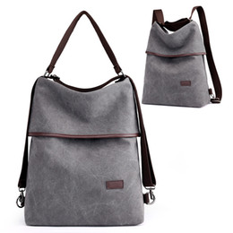 $enCountryForm.capitalKeyWord Canada - Convertible Canvas Backpack Purse Women 15.6 Inch Laptop Backpack Casual Large Capacity Shoulder Bag Lightweight Vintage Fabric
