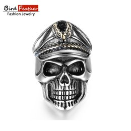 2018 skull wedding rings for women bird feather stainless steel men rings officer skull titanium rings - Skull Wedding Rings For Men