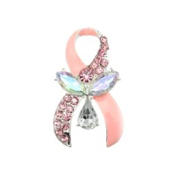 $enCountryForm.capitalKeyWord Australia - Free Shipping 10pcs lot Hot selling Fancy pink ribbon breast cancer awareness Brooch pin for gift party wedding