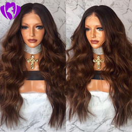 brown blue ombre lace front wig NZ - Hotselling middle part Two Tone Ombre 1b  medium brown ombre wigs body wave Hair Lace Front Wig Synthetic African American wigs