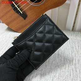 Wholesale Famous designer brand new Genuine Leather lambskin quilted card holder cion cover small wallet with box