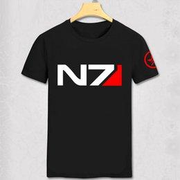 RPG Oyunu Mass Effect 3 N7 T Gömlek erkek Bez cosplay kostüm Pamuk Tshirt Yeni Sistemler Ittifak Askeri Amblem Oyunu T-shirt