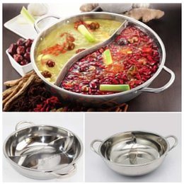 Steel Induction Canada - Hot Pot Twin Divided Stainless Steel 28cm Cookware Induction Little Sheep Hot Pot Ruled Compatible Soup Stock Pots Home Kitchen