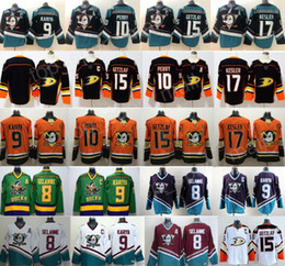 Mighty Anaheim Enten Eishockeytrikot Ryan Getzlaf Corey Perry Kesler Teemu Selanne Paul Kariya Charlie Conway Gordon Bombay schwarz blaugrün orange