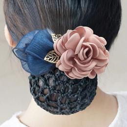 $enCountryForm.capitalKeyWord Australia - Hand-made girl Hair Bows with Clip High Quality Girls Elegance Hair Clips Big Cloth Flowers hairpin with hair net Headress flower