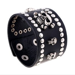 Bracelet fasteners online shopping - New Fashion Alloy Skeleton Button Rivet Leather Bracelet Black Punk Non mainstream Wide Wristband with Snap Fastener Jewelry Gifts