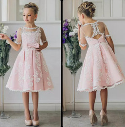 59094f0d49174 Fancy Pink Flower Girl Dress with Half Sleeves Knee Length Appliques A-Line  Gown with Ribbon Bows For Christmas Pageant Gowns 0-12 Years Old