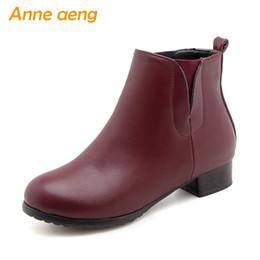ef4bcdcd0 Outono inverno mulheres botas chelsea tornozelo salto médio slip-on  senhoras sexy botas de neve vinho vermelho inverno mulheres sapatos tamanho  grande 33-46