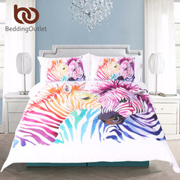 zebra print bedding sets queen NZ - BeddingOutlet Safari Zebra Bedding Set Printed Duvet Cover Set Colored Animal Bed Cover Pillow Case Twin Full Queen King Home