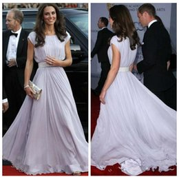 kate middleton long evening dress Canada - 2019 Kate Middleton Bateau Sash Cap Sleeve Evening Dresses Custom Made Prom Gowns Celebrity Long Formal Dresses Chiffon Vestidos De Soiree