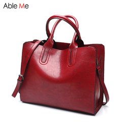 Gifts Handbags NZ - New 2017 Simple style oil wax leather Women Handbag Fashion lady Shoulder Bag High Quality Messenger Bags tote female gifts