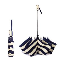 navy blue umbrella 2019 - Fully automatic umbrella rain woman man Sunny umbrellas creative folding sun umbrella Navy stripes parasol 2017 new SQSY
