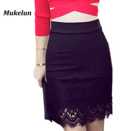 a62fea620 S-5XL Plus Size Black Pencil Skirt Women Spring Summer Lace Patchwork Bodycon  Skirts Lady Tight Sexy Mini Skirt D1891802