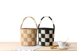 PaPer woven bags online shopping - Cylinder handkerchief straw bag paper rope hand woven bucket bag square color holiday beach bag