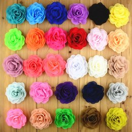 Roses For Hair Australia - 8cm 28colors 20pcs lot Chiffon Fabric Rose Flower Without Clip For Girls Hair Accessories Hand Craft DIY