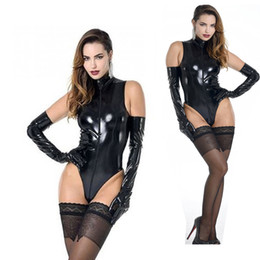 Hot Sexy Lingerie Women Costume NZ - Sexy Women Faux Leather Bodysuits Wetlook Zipper Catsuit Sleeveless Teddy Lingerie Hot Erotic Club Stripper Sexy Costumes
