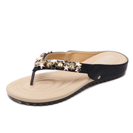 bd0164352726e3 Women s shoes 2018 new Korean version of sandals women bohemian beaded soft  slippers comfort flat flip-flops