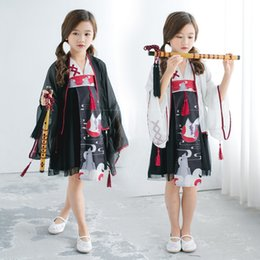 Japanese Dresses Canada - Japanese Traditional Cosplay Costumes Girl Kimono 3PCs Dresses for Kids Girls Bathrobe Yukata Lace Children Crane Kimono