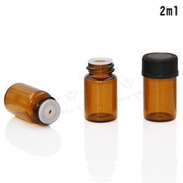 amber glass bottles screw 2019 - 500Pcs Lot 2ml Empty Amber Glass Essential Oil Bottle Jar Vial with Orifice Reducer and Cap Cosmetic Makeup Sample Conta